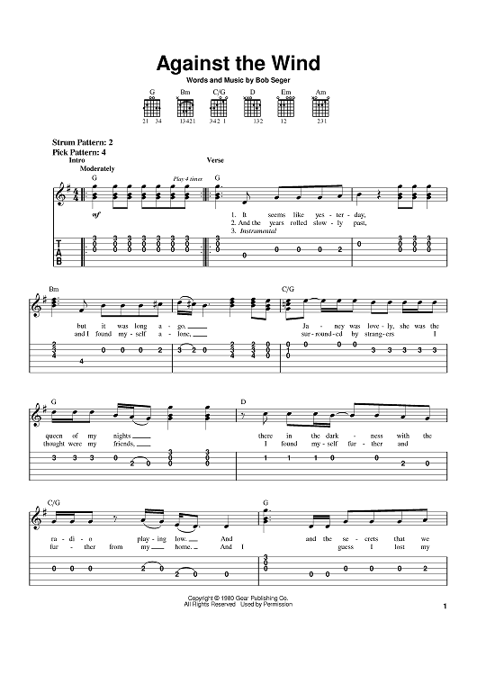 Against The Wind Sheet Music by Bob Seger