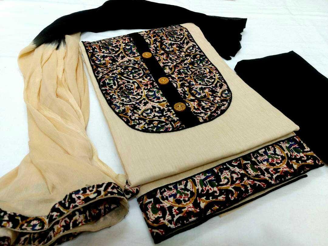 Top handloom cotton with kalamkari yolk, bottom cotton and dupatta chiffon. Click here to buy https://www.moifash.com/south-ethnicz/product?id=59088f116a3de5384167bb87