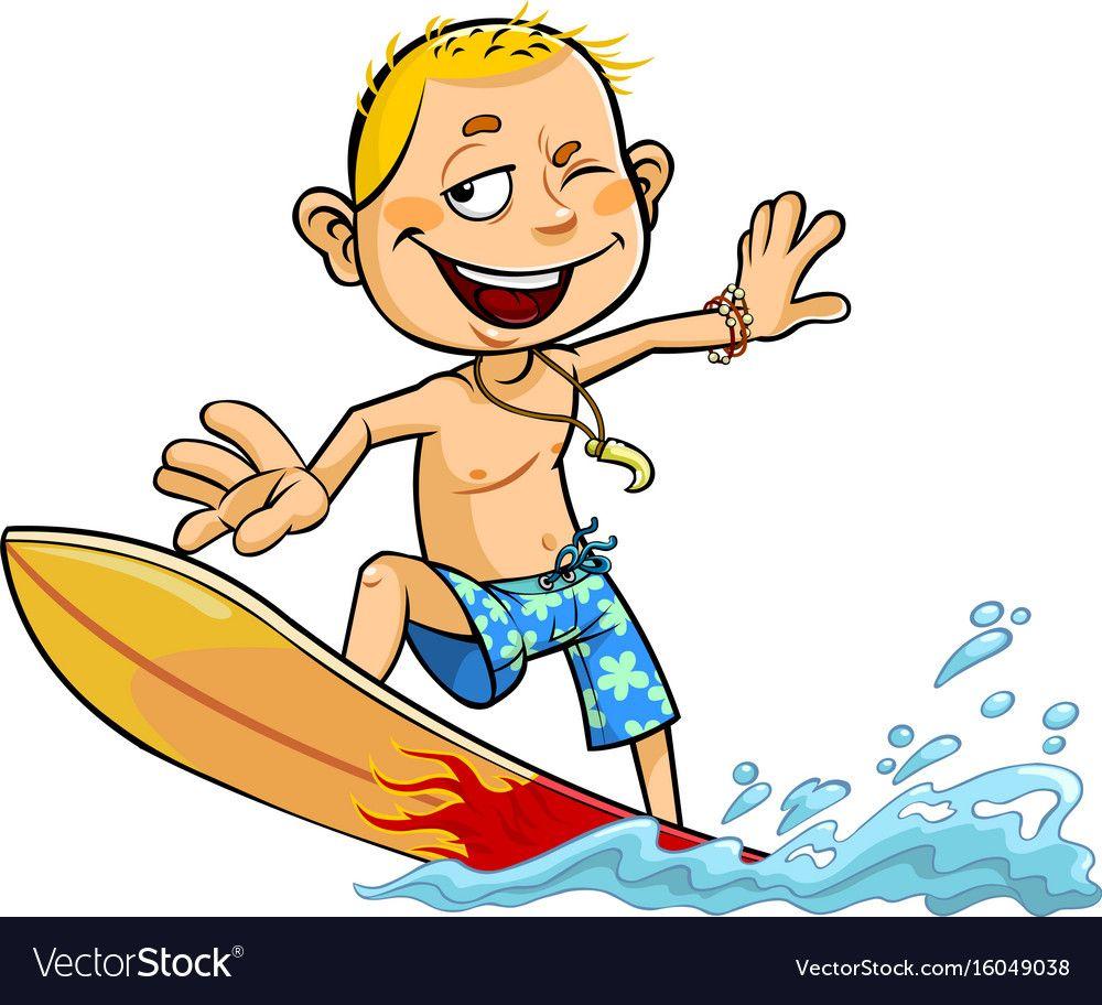 Cartoon Boy Surfing Download A Free Preview Or High Quality Adobe Illustrator Ai Eps Pdf And High Resolution Jpeg Ve Cartoon Kids Cartoon Boy Cartoon People