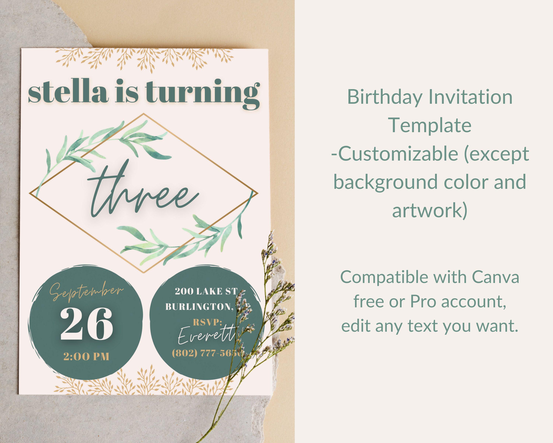 Birthday Invitation Template editable invitation canva  Etsy in