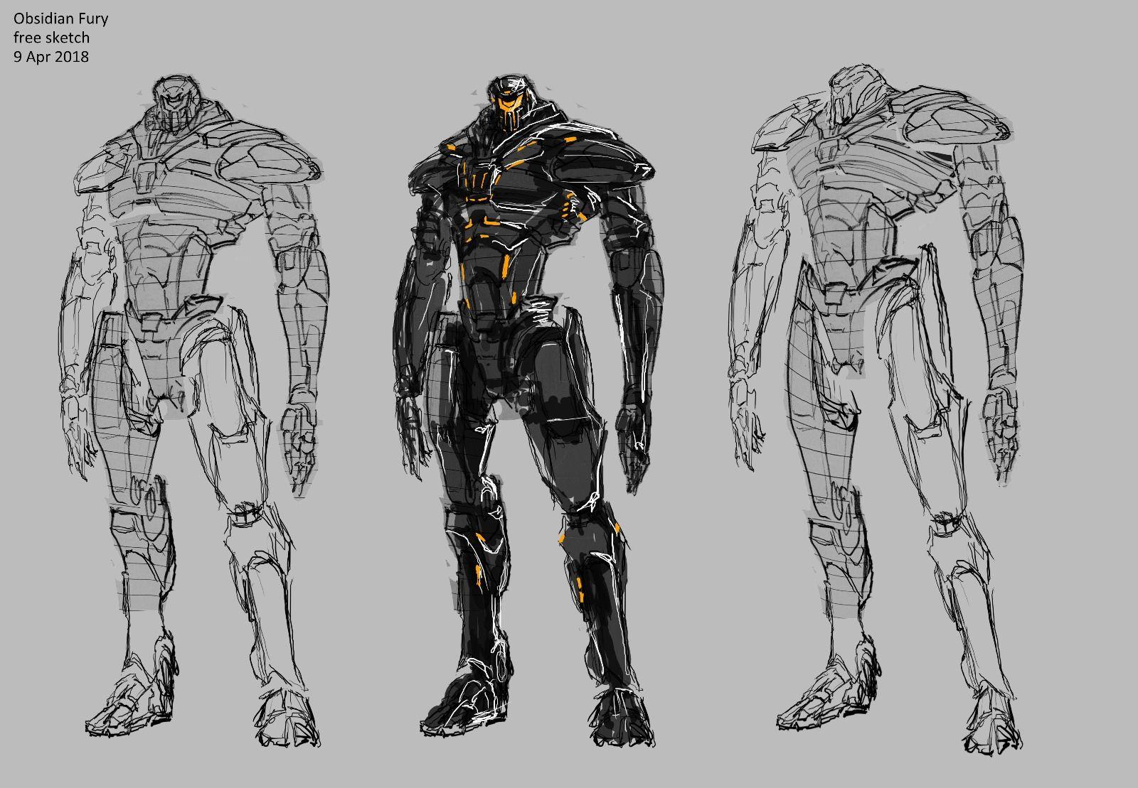 Obsidian Fury Free Sketch Restyle Pacific Rim 2 Uprising Titanes Del Pacifico Pacific Rim Arte Transformers