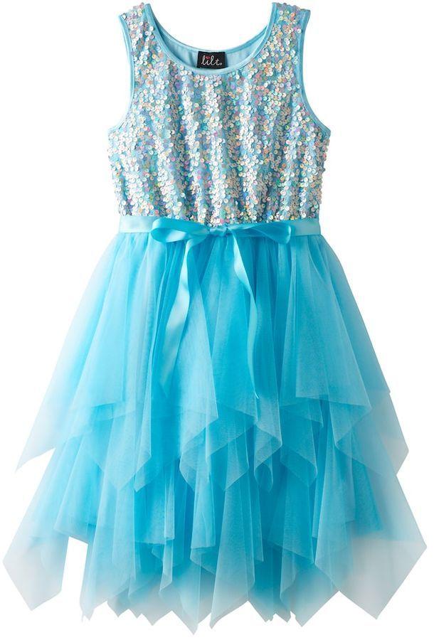 ebce21fb724 Lilt Girls 7-16 Lilt Sequin Soutache Bodice   Tiered Tulle Skirt Dress