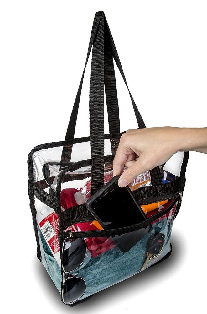 Zippered Clear Nfl Stadium Roved Tote Bag 12x12x6 Top And Side Pocket With Rovedstadiumbags