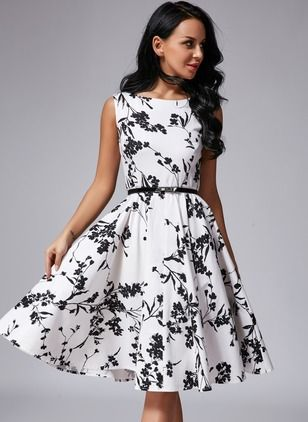 Vingage Ärmellos Blumen Midi Polyester Kleider | ❤ Fashion ...