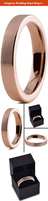 Tungsten Wedding Band Ring 4mm for Men Women Comfort Fit