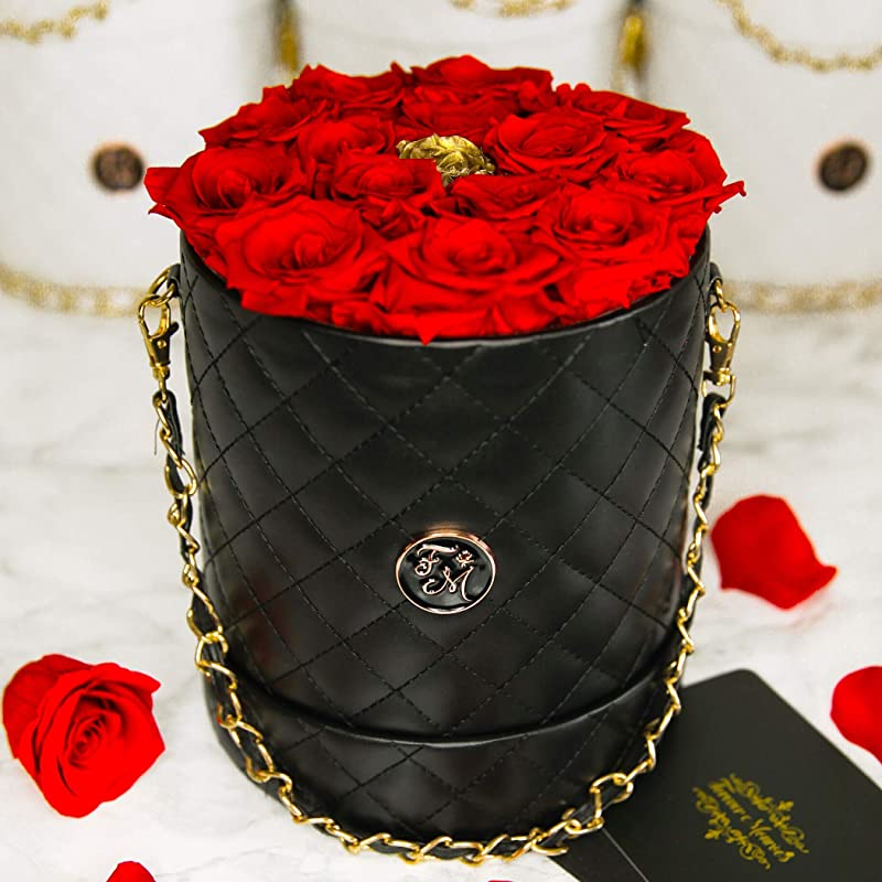 Box of Red & Gold Roses that last a year, Black Quilted Diamond Pattern Bucket Bag with Metal Gold Chain filled with Preserved Roses