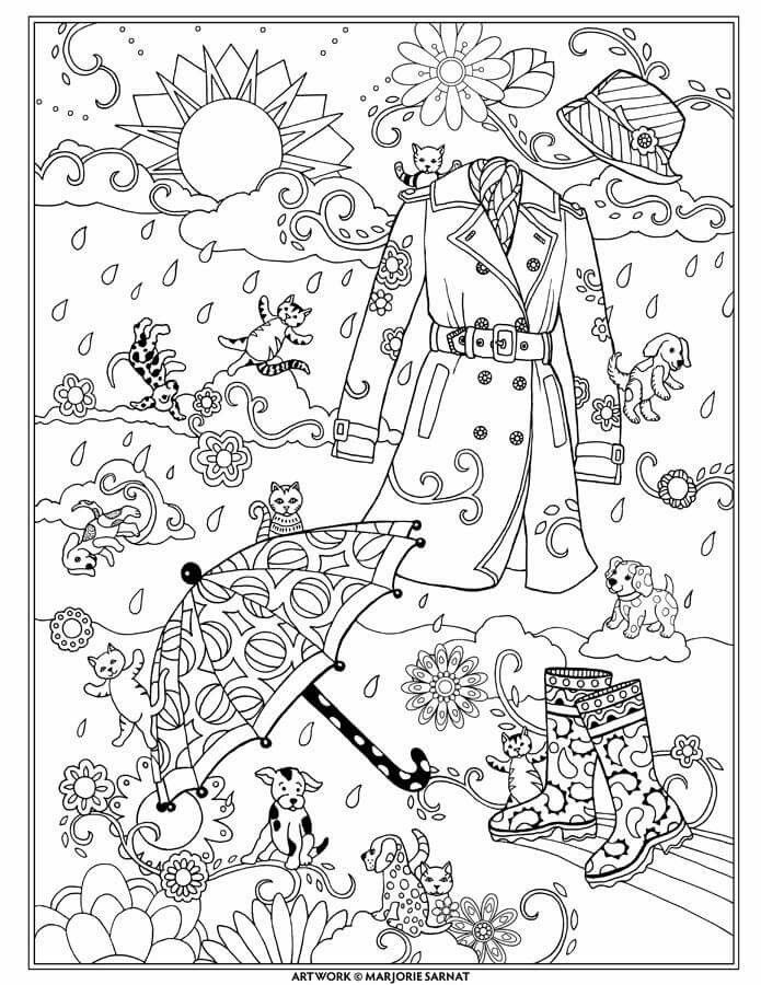 Raining Cats And Dogs Fanciful Fashions By Marjorie Sarnat Adult Coloring Pages Books