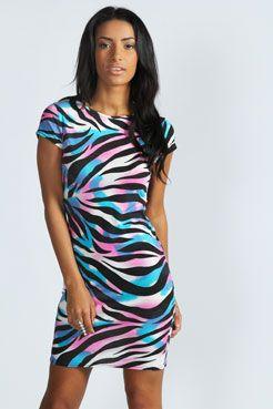 Coco Multi Zebra Print Cap Sleeve Bodycon Dress at boohoo.com  3ddcfcfb1