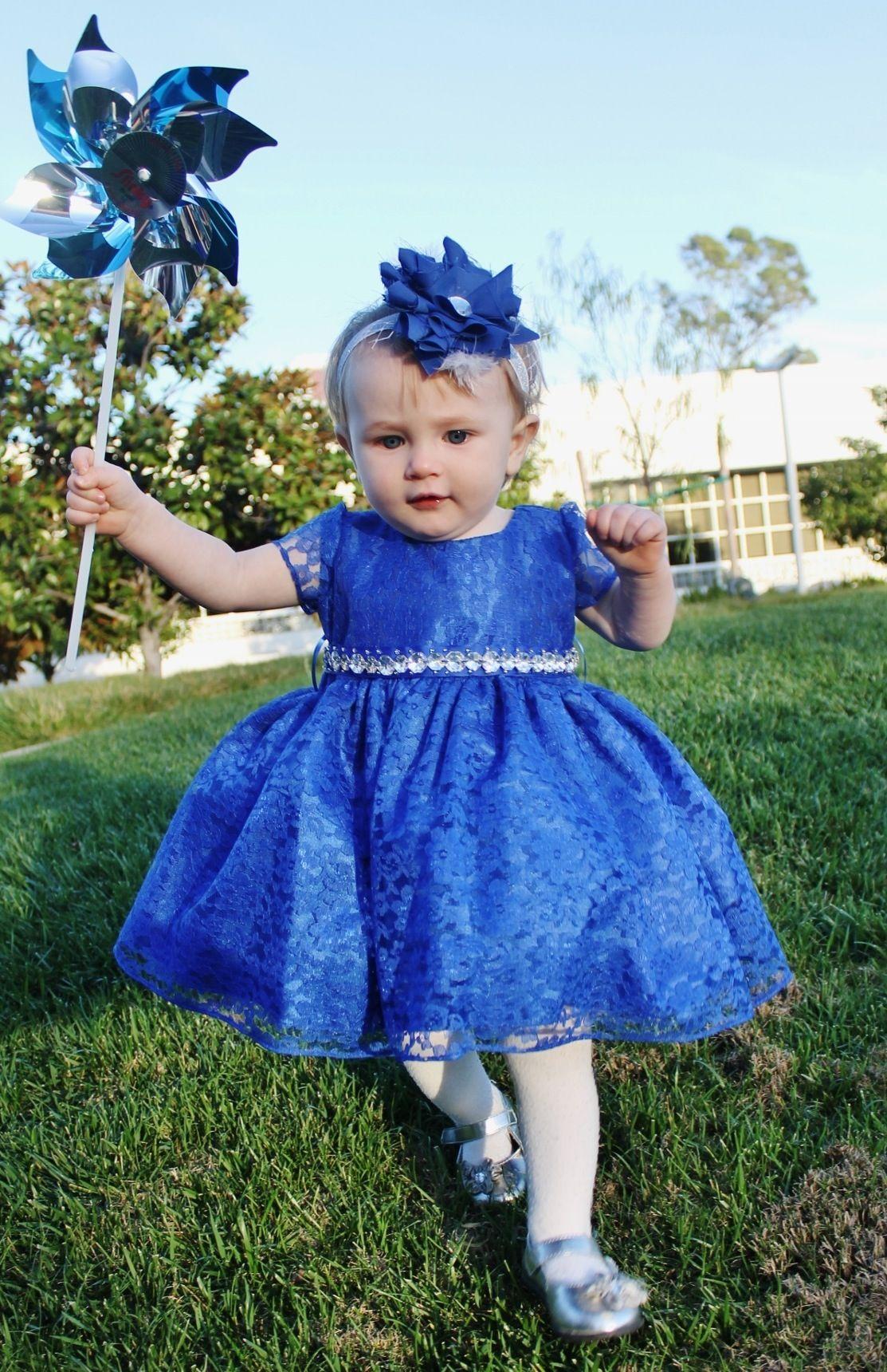 Baby girls royal blue gems dress dresses toddler
