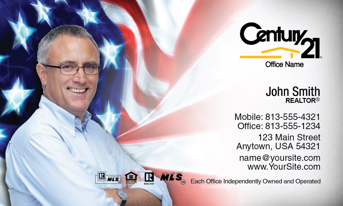 American Flag Century 21 Business Card Idea. | Century 21 Business ...