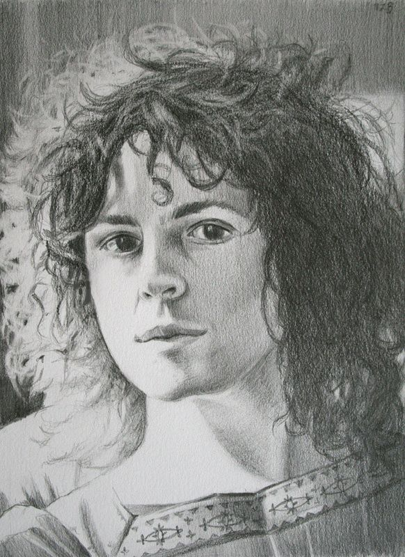 sketch of Marc Bolan by artist Marsha Bowers