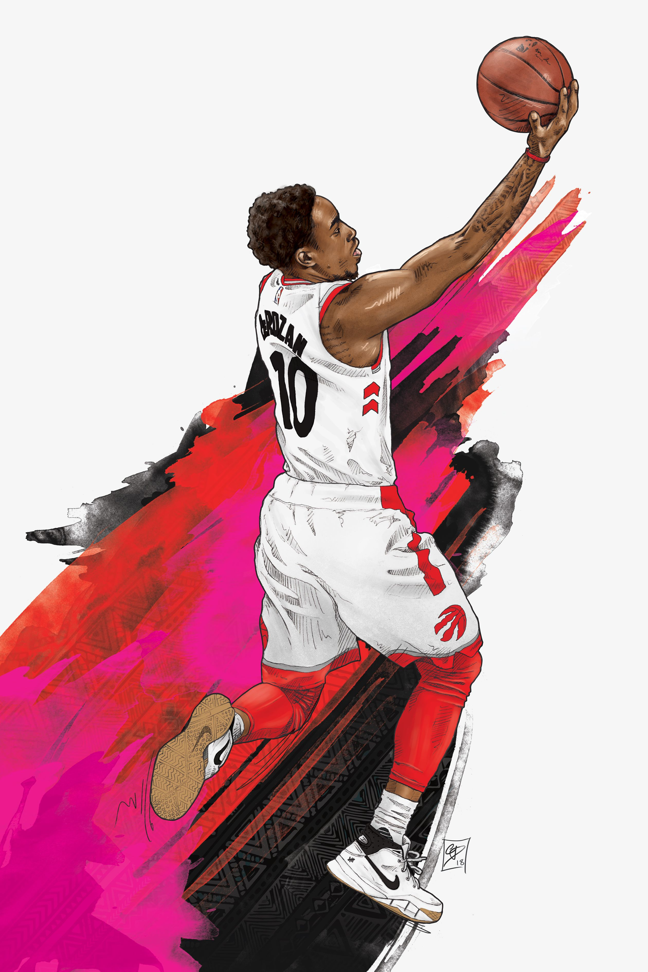 Demar Derozan Illustrated Poster Nba Wallpapers Nba Basketball Art Nba Artwork