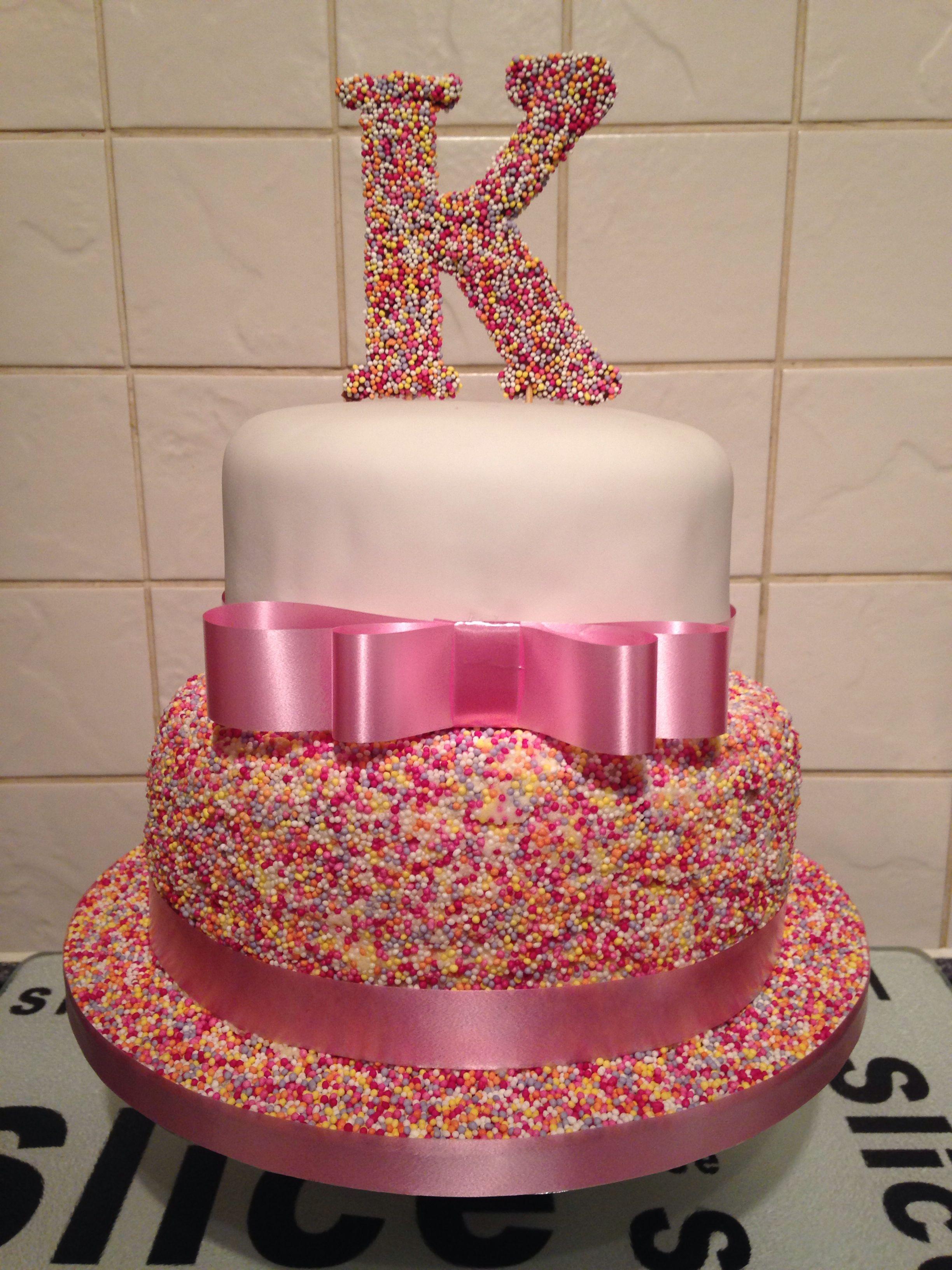 Girls 2 Tier Sprinkle 18th Birthday Cake