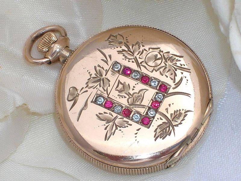 Exquisite c1880 Antique Victorian 10K Rose Gold GF Jewelled Pocket Watch Locket   eBay