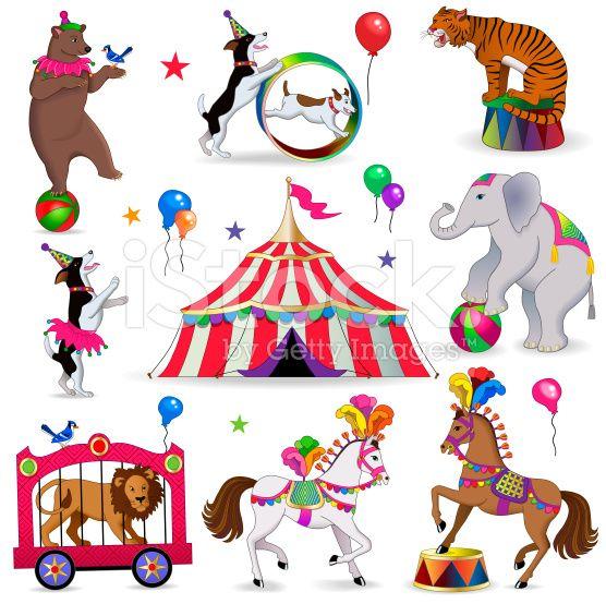 Vector Circus Animals Bear Balancing On A Ball Trained Dogs Animal Illustration Kids Circus Animals Illustration Circus Animals