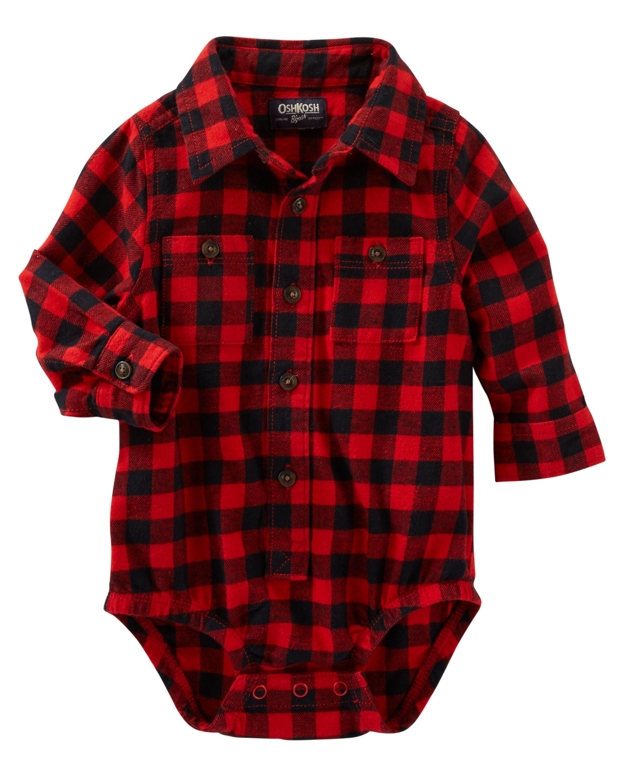 60d1d8e6f Baby Boy Buffalo Check Button-Front Bodysuit