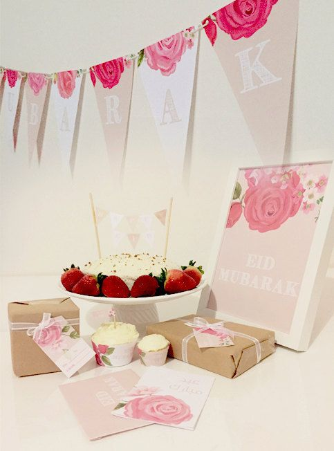 DIY Eid Decorations Vintage Rose Printable Pack Eid Mubarak