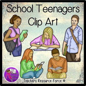 Teens Studying at School clip art | Colors, Clip art and Art