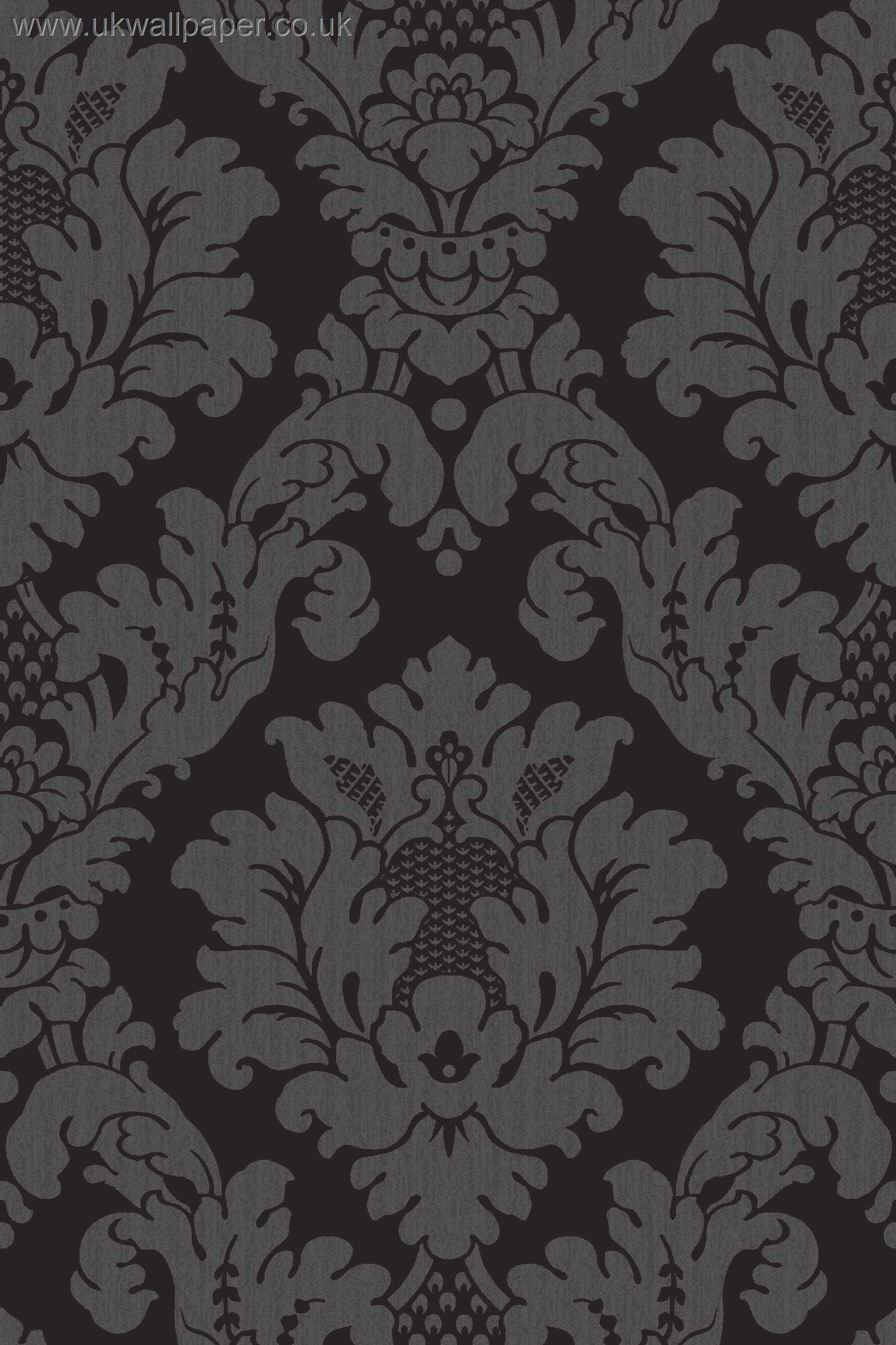 Black on black damask wallpaper davinci damask wallpaper for Black white damask wallpaper mural