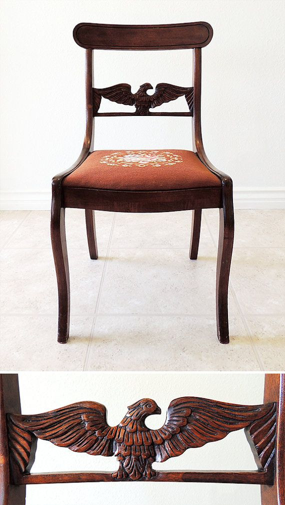 Captivating Federal Style Side Chair W/ Carved Eagle Back U0026 Needlepoint Seat