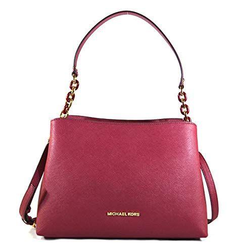 41e498bed Michael Kors Sofia Large East West Saffiano Leather Satchel Crossbody Bag  Purse Tote Handbag - Mulberry