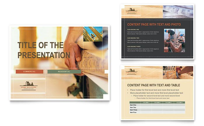 Home Builders and Construction PowerPoint Presentation Template - powerpoint brochure template