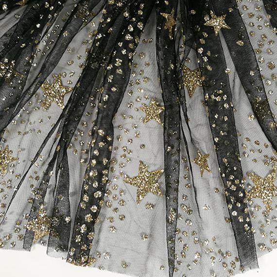 Star Embroidered Lace Fabric By The Yard,Wedding Dress Mesh Fabric,DIY Handmade,Width 59 inches