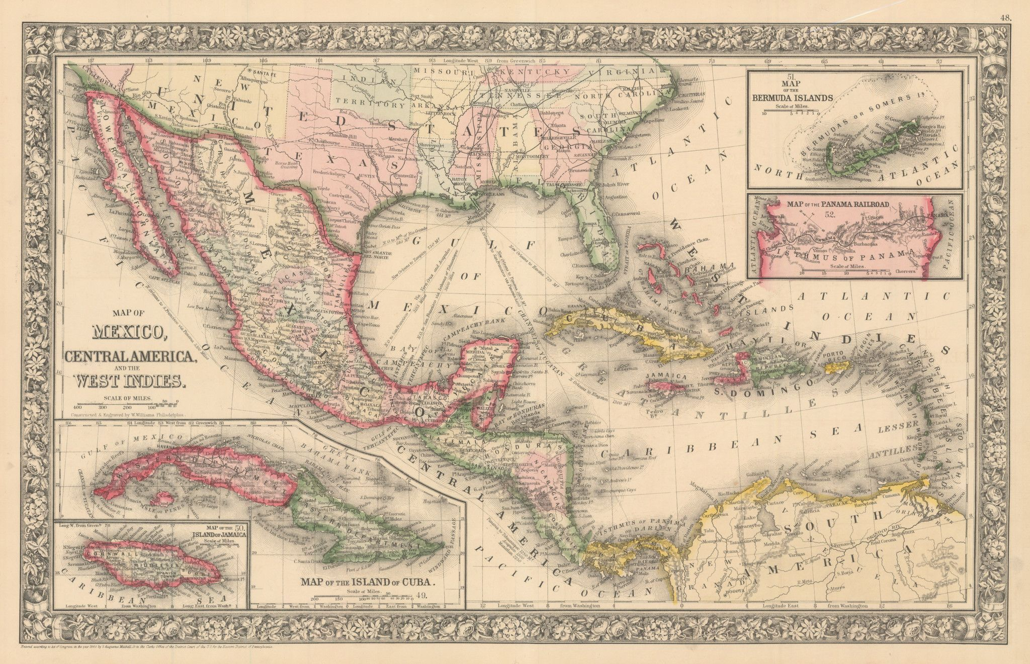1860 Map of Mexico, Central America and the West Indies ...