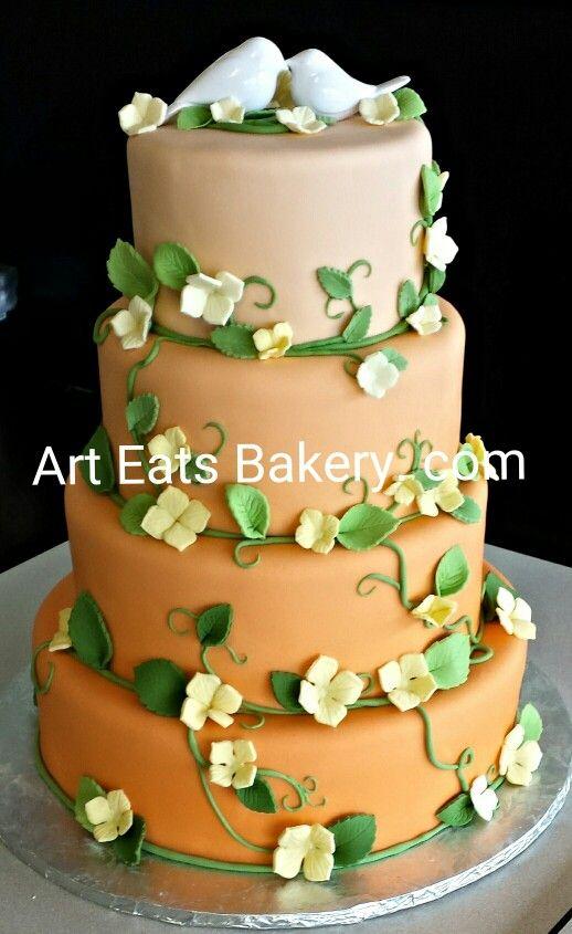 4 tier #custom #modern coral #ombre #fondant #wedding #cake design ...