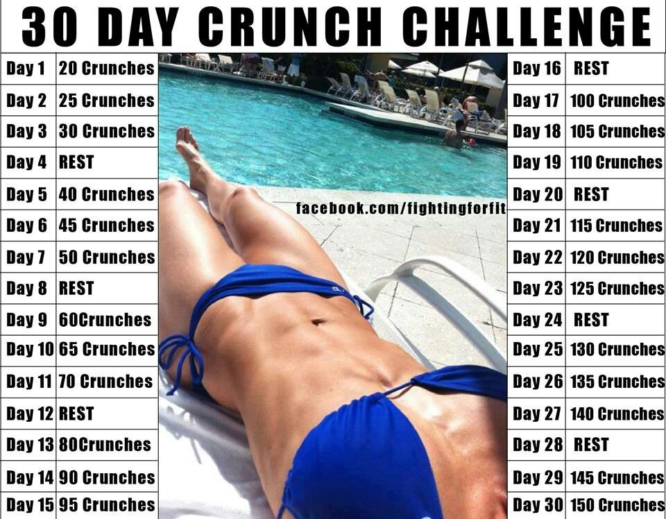 First month: crunches! Then arms, then squats. Bring it!