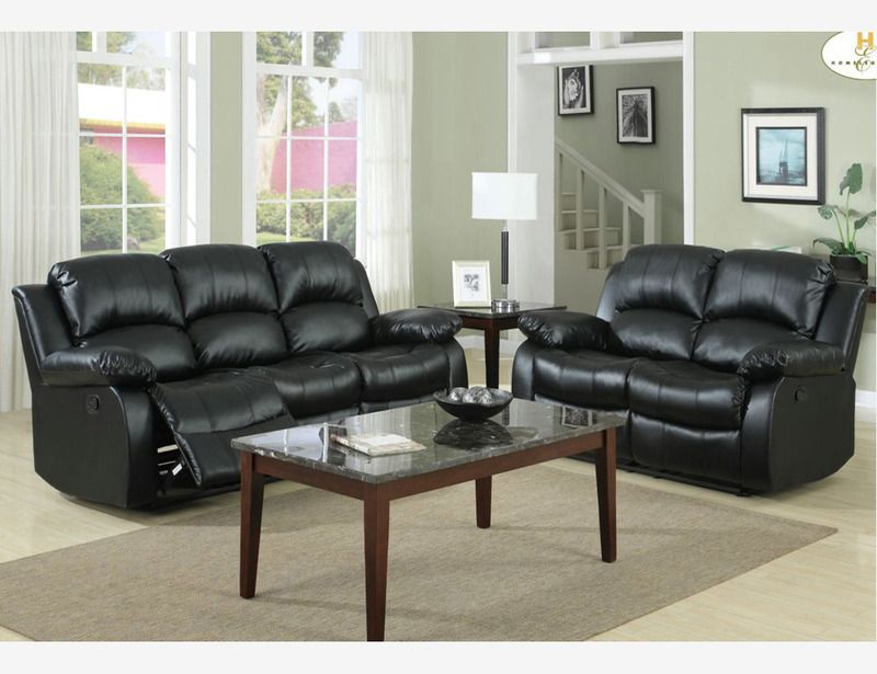 Black Leather Tufted Dual Reclining Sofa Couch Loveseat Motion Living