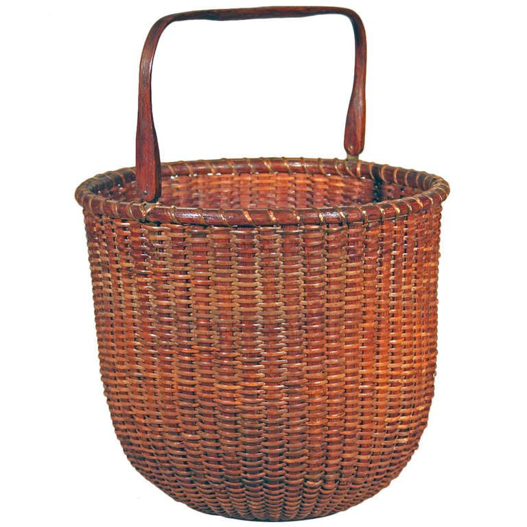 Rare Tall Lightship Basket With Handle Antique Baskets