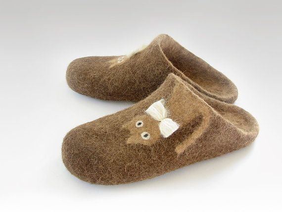 9cc14711955 Open heel felted slippers of natural sheep and alpaca wool ...