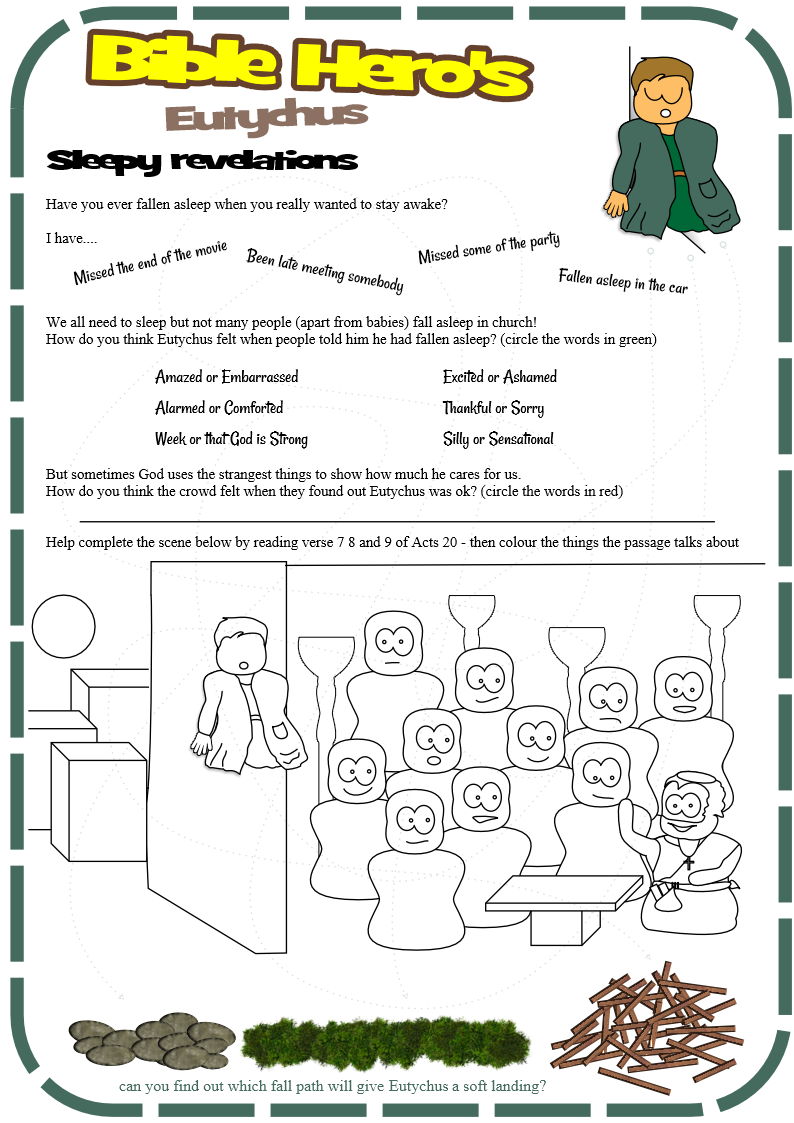 Eutychus (Acts 20) Bible study for kids, Fun worksheets