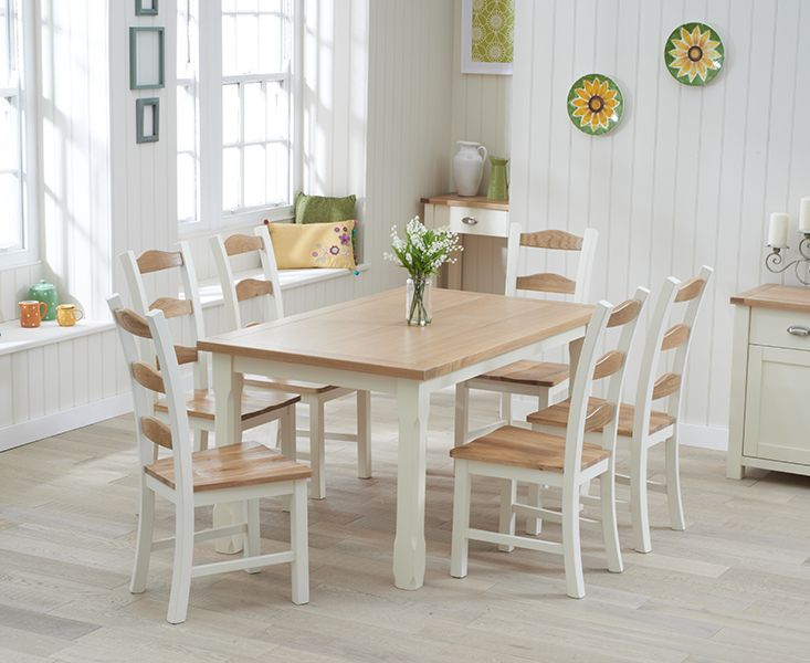 Buy The Somerset 150cm Oak And Cream Dining Table With Chairs At Oak Furniture Superstore Painted Kitchen Tables Extendable Dining Table Oak Dining Furniture