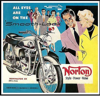 Norton Dominator Motorcycle poster 23x24in