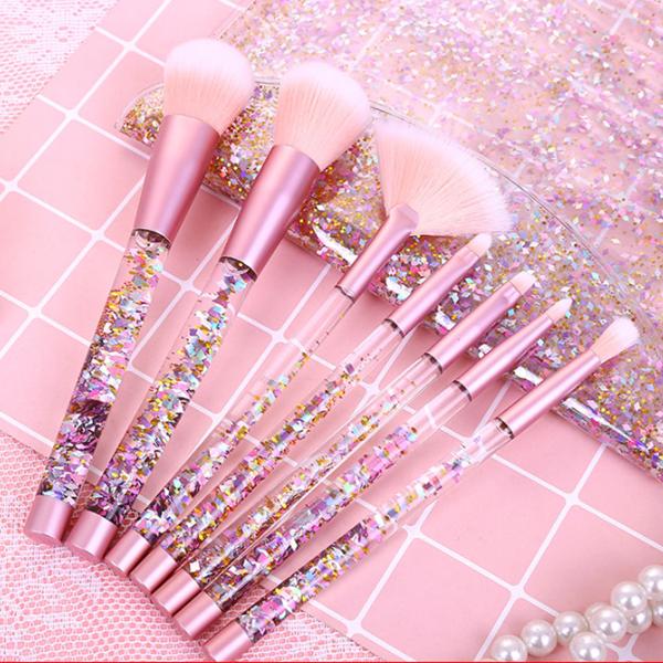 Cute Flowing Sequin Makeup Brush Set Yv40349 Makeup Brush Set Makeup Brush Storage Glitter Makeup
