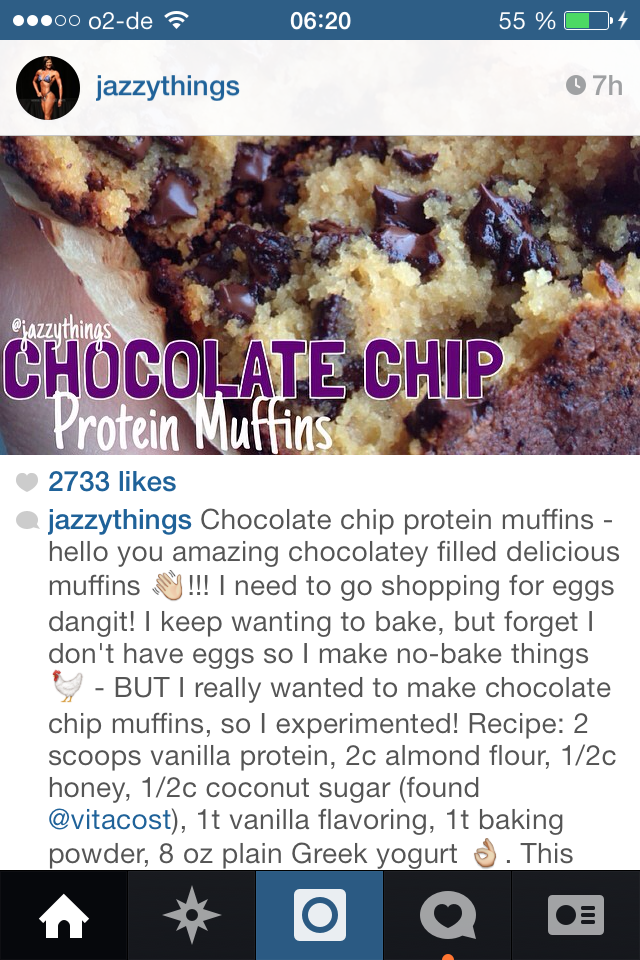 Chocolate Chip Protein Muffins by Jazzythings <3