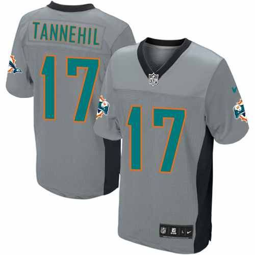 mens nike miami dolphins 17 ryan tannehill limited grey shadow jersey 89.99