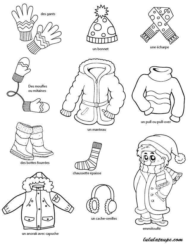Imagier gratuit imprimer l 39 hiver les v tements la moufle coloriage hiver hiver et - Dessin sur l hiver ...