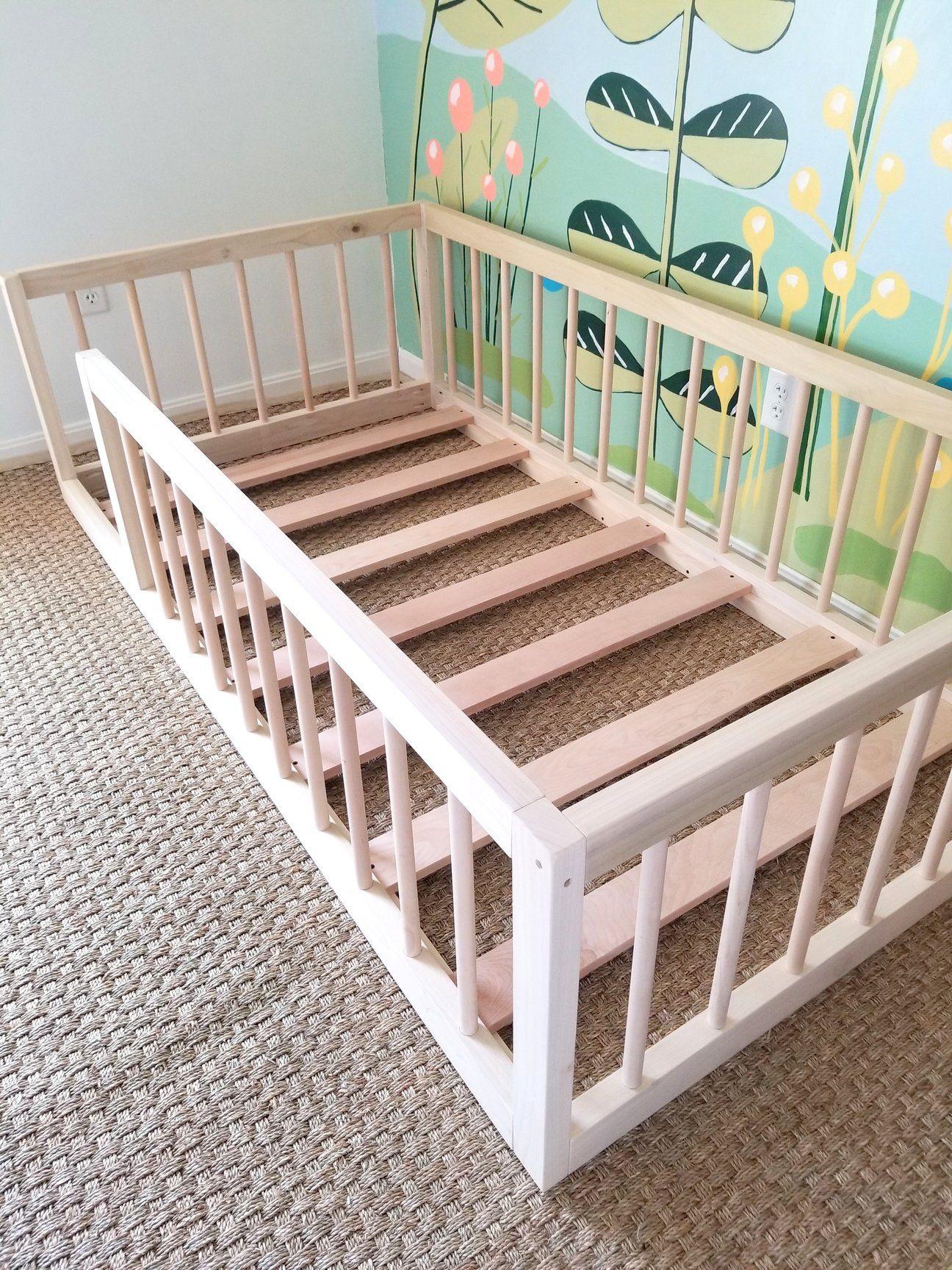 Montessori Floor Bed With Rails Twin Size In 2020 Toddler Floor