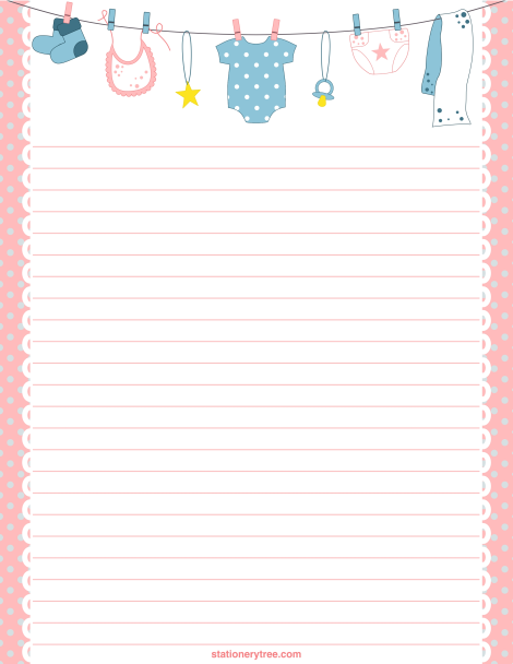 Printable Baby Stationery And Writing Paper Free Pdf Downloads At