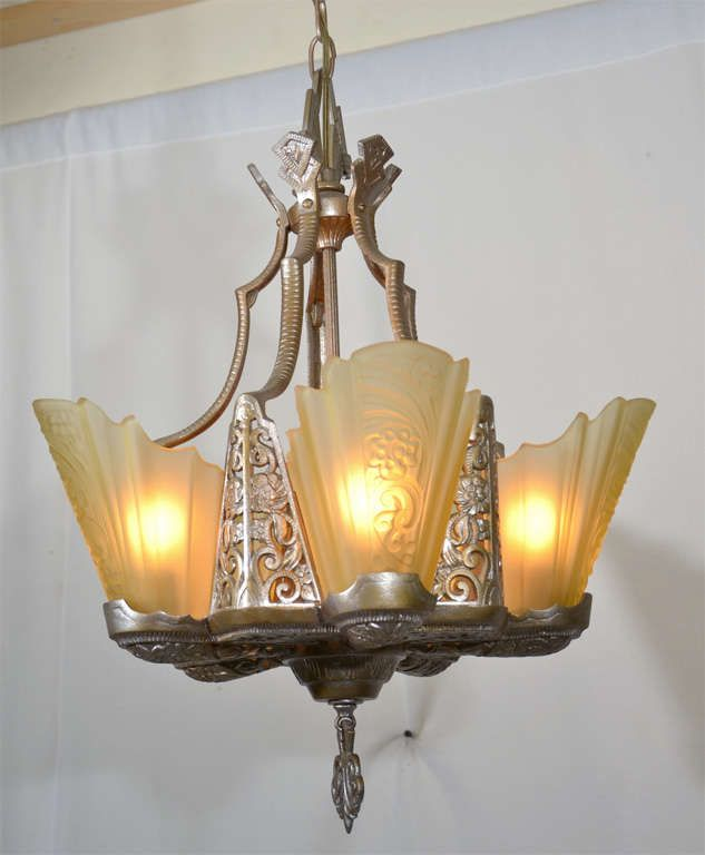 Art Deco Slip Shade Chandelier