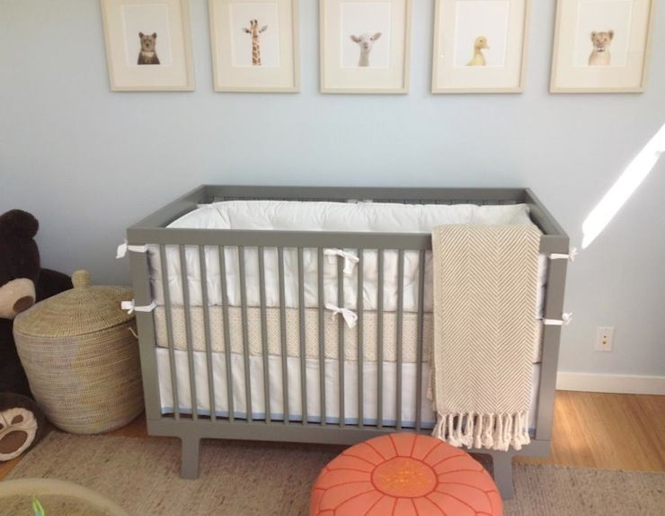 Source Amanda Teal Design Gray Blue Nursery With Pop Of Tangerine Baby Paint Color Modern Crib The Animal Print Prints