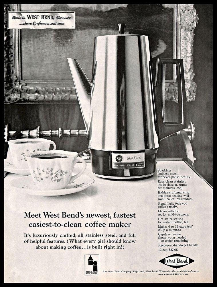 1966 West Bend CoffeeMaker Vintage PRINT AD Steel Kitchen Appliance BW 1960s WestBend
