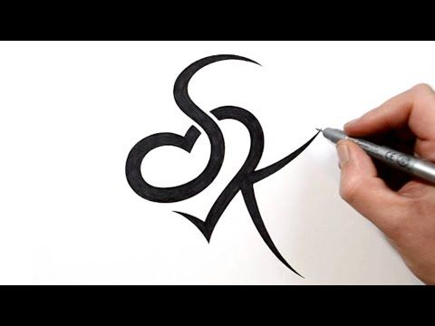 Combining Initials S And K With A Heart Tattoo Design Youtube Heart Tattoo Designs Initial Tattoo Name Tattoo Designs