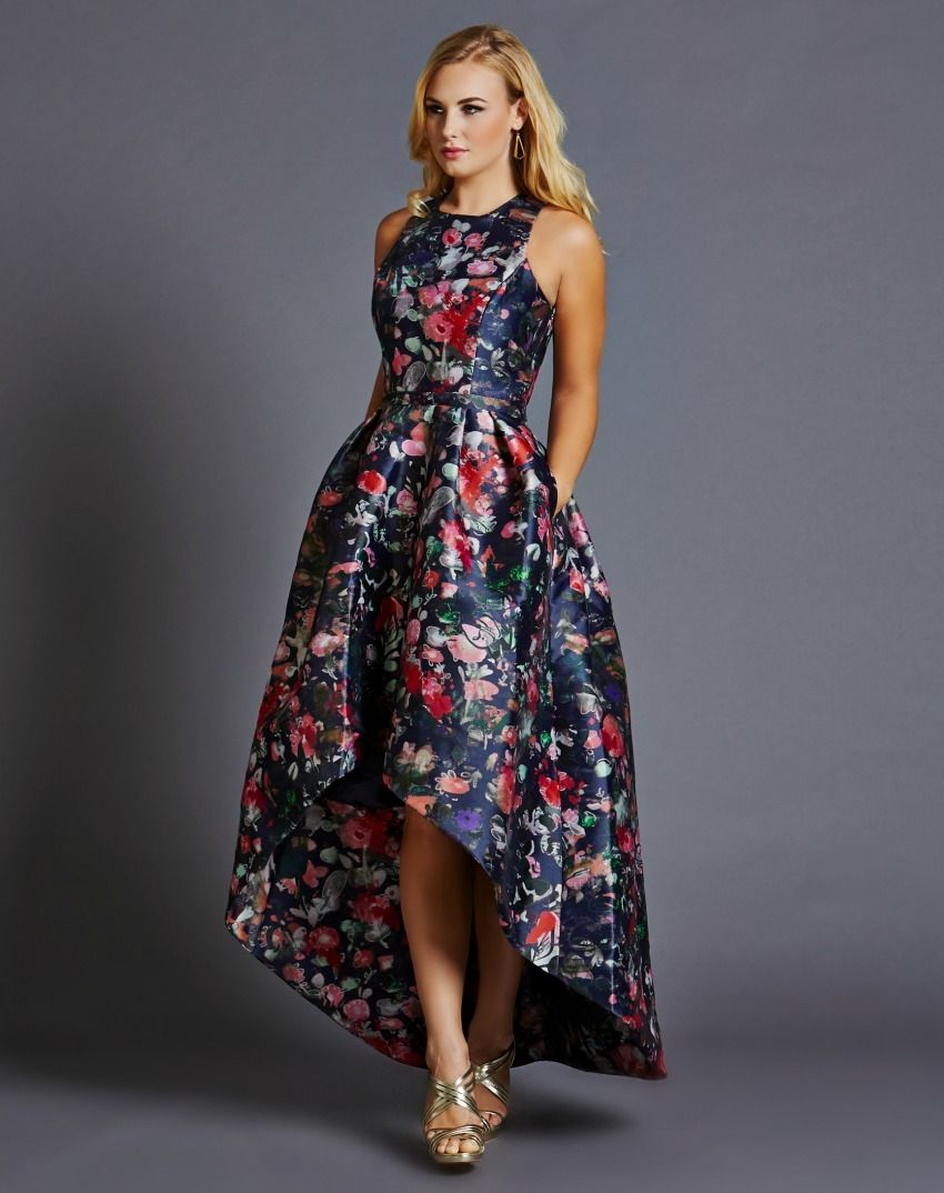 Tea party floral sleeveless high low gown dresses pinterest