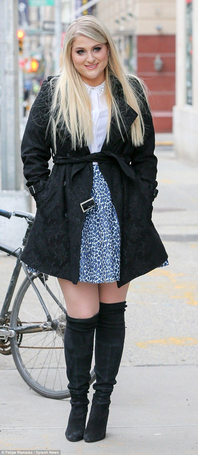 Every inch of you is perfect: Meghan Trainor hits New York in a pair of knee high boots an...