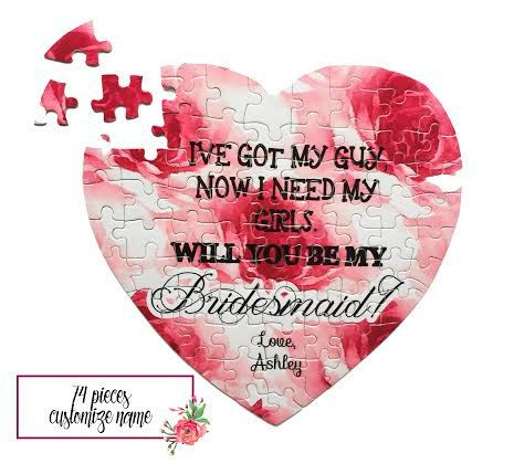 BRIDESMAID PROPOSAL Heart Shaped Puzzle / 74 by MJsBridalSupport ...