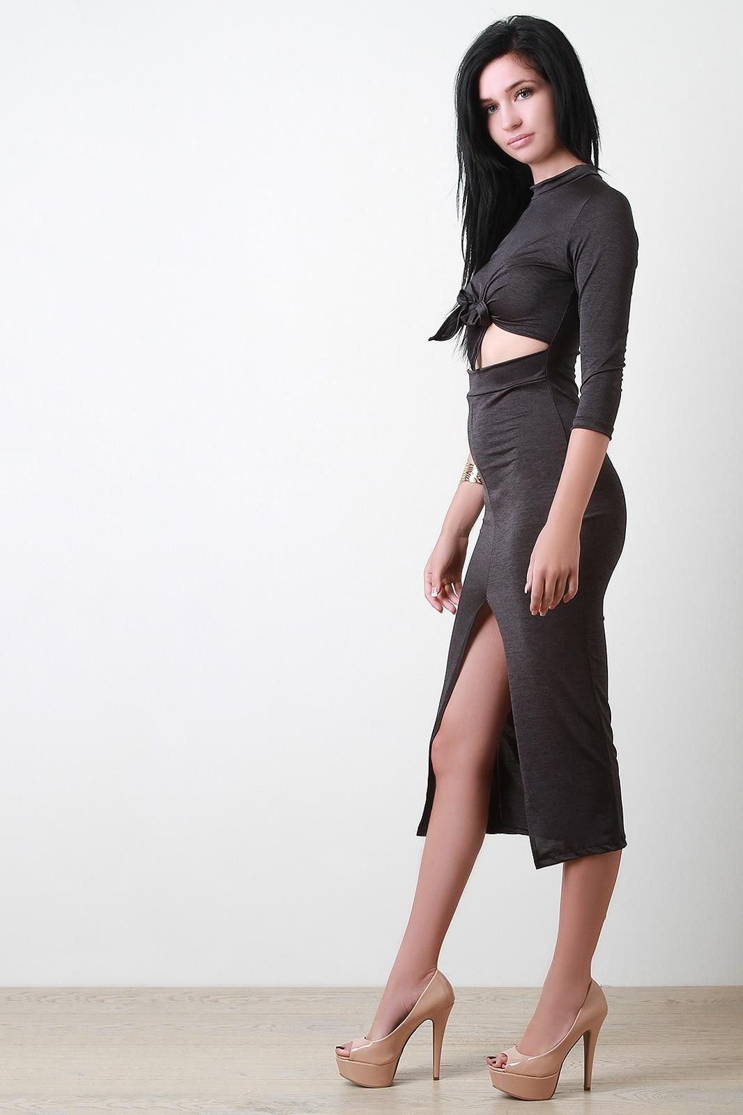 Knotted mock neck cut out dress products pinterest products